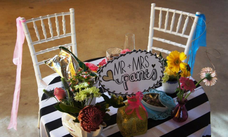 Mrs & Mr Pants Bridal Table